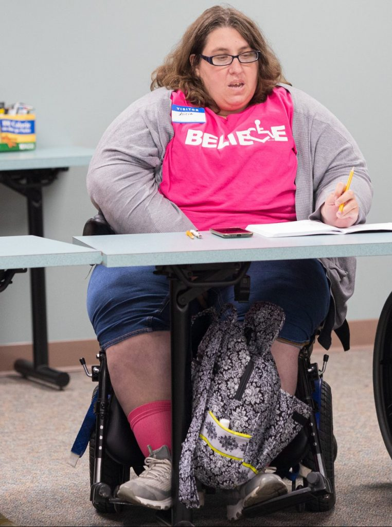 Image above: Alicia Hopkins, arts accessibility advocate.  a woman wearing a pink t-shirt with the text Believe, seated in a wheelchair, in a meeting