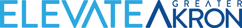 Blue and white logo that says Elevate Greater Akron